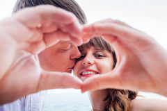 Mature couple with love sign Royalty Free Stock Images
