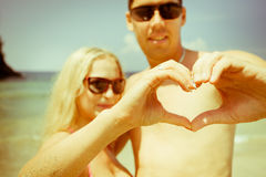 Mature couple with love sign Stock Photos