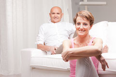 Mature couple loving each other at home Royalty Free Stock Images