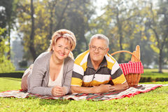 Mature couple lying on a blanket in park. Mature couple lying on a blanket an enjoying a picnic in park Royalty Free Stock Photography