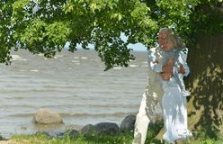 Mature couple near river Royalty Free Stock Photography