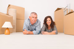 Mature couple at new home royalty free stock photography