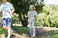 Mature couple Nordic walking at park Stock Images