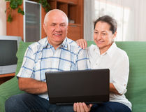 Mature couple  with notebook Royalty Free Stock Images