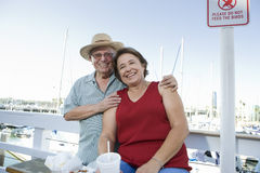 Mature Couple In An Outdoor Restaurant Stock Images