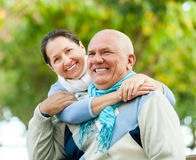 Mature couple in park Royalty Free Stock Images