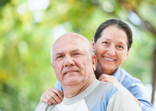 Mature couple in park Stock Photo