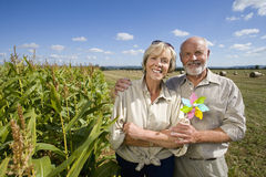 Mature couple with pinwheel by corn field, smiling, portrait Royalty Free Stock Image