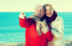 Mature couple pointing on beach Royalty Free Stock Images