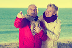 Mature couple pointing on beach Royalty Free Stock Image