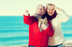 Mature couple pointing on beach. Mature men and women walking by sea and pointing upwards stock image