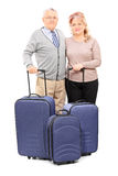 Mature couple posing with their baggage Stock Images