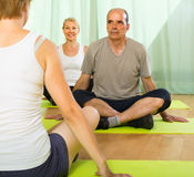 Mature couple practicing yoga with instructor Royalty Free Stock Photo