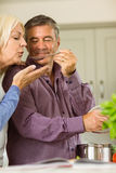 Mature couple preparing meal together Royalty Free Stock Photography