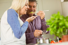 Mature couple preparing meal together Royalty Free Stock Photos