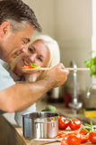 Mature couple preparing vegetarian meal together Stock Photos