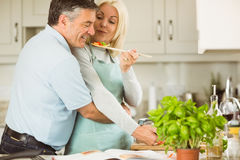 Mature couple preparing vegetarian meal together Royalty Free Stock Photos