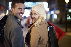 Christmas shopping Stock Images
