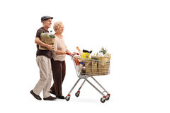 Mature couple pushing a shopping cart Stock Photography