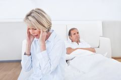 Mature Couple In Quarrel At Home Royalty Free Stock Image
