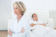 Mature couple in quarrel at home royalty free stock photos