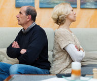 Mature couple after quarrel Royalty Free Stock Image