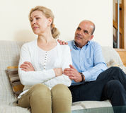 Mature couple after quarrel Royalty Free Stock Photo