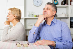 Mature couple quarrels. Aged couple quarrels with each other at clarification of the family relation stock images