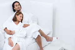 Mature couple relaxing together at day spa Stock Photo