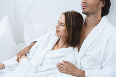 Mature couple relaxing together at day spa Stock Photography