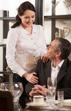 Mature couple in restaurant. Stock Photos