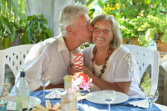 Mature couple at restaurant Stock Photo