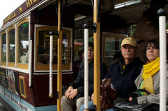 Mature Couple Riding a Cable Car Royalty Free Stock Photos