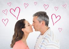 Mature couple romancing. Composite image of mature couple romancing Stock Photography