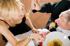Mature Couple romantic dinner Stock Images