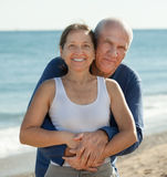 Mature couple at sea beach Stock Image