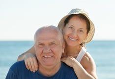 Mature couple at sea beach Stock Photo