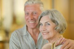 Mature couple at shopping mall Royalty Free Stock Image