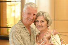 Mature couple at shopping mall Stock Photography