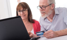 Mature couple shopping online Stock Photography