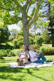 Mature couple sitting against a tree at park Stock Photo