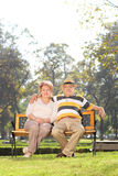 Mature couple sitting on bench in a park Stock Images