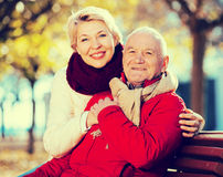 Mature couple sitting in park. Mature men and women sitting comfortably on bench in park stock photography