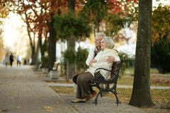 Mature couple sitting in the park Royalty Free Stock Photo