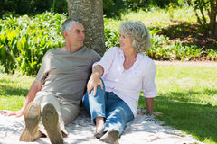 Mature couple sitting together against tree at park Stock Images