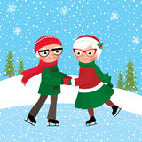 Mature couple skating at the ice rink. Cartoon vector illustration of a mature couple skating at the ice rink Stock Photo