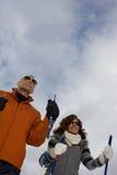 Mature couple skiing Royalty Free Stock Photo