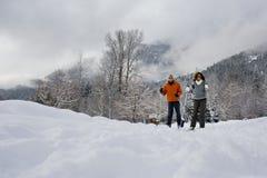 Mature couple skiing Stock Photo