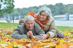 Mature couple spending time in the park royalty free stock photography