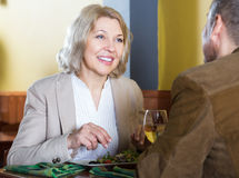 Mature couple spending time in restaurant royalty free stock photography